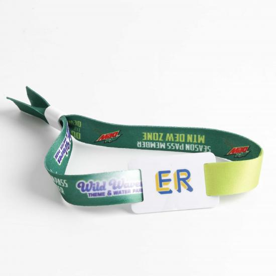 Colorful woven wristband as ticket voucher